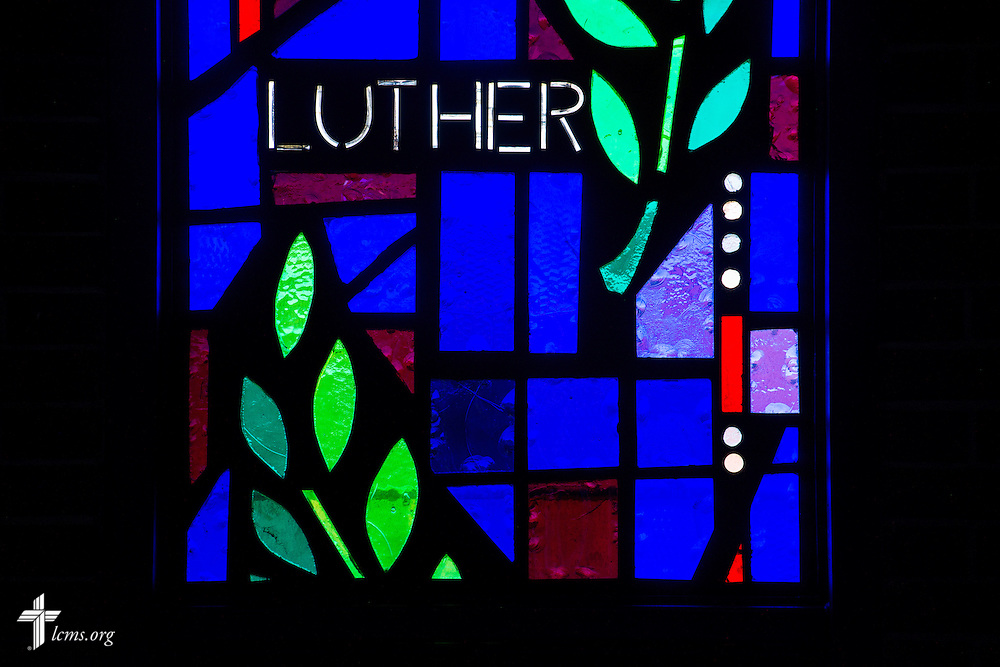 """Stained glass with the word """"Luther"""" on Sunday, Nov. 22, 2015, at Salem Lutheran Church in Springdale, Ark. LCMS Communications/Erik M. Lunsford"""