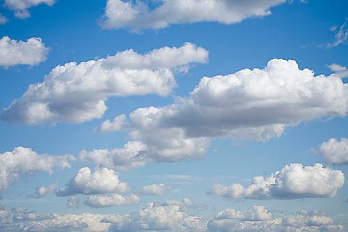 Blue sky and puffy clouds. Sacramento, CA