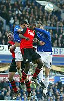 Fotball<br /> Premier League 2004/05<br /> Everton v Blackburn<br /> 6. mars 2005<br /> Foto: Digitalsport<br /> NORWAY ONLY<br /> Duncan Ferguson jump for the same ball in the box