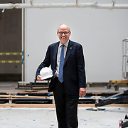 August 23, 2013 - Queens, NY : Queens Museum of Art Executive Director Tom Finkelpear poses for a portrait in the expanded museum space -- originally built as the city's official pavilion for the 1939 World's Fair --on Friday afternoon. The Queens Museum of Art, which has been closed all summer in order to facilitate the completion of its massive renovation and expansion, is slated to re-open toward the end of the year. The $65 million project, overseen by Grimshaw Architects, will double the size of the Museum to 100,000 square feet. CREDIT: Karsten Moran for The New York Times
