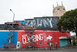 "© Licensed to London News Pictures. 24/07/2016. Bristol, UK.  ""Up Up & Away"" by Cheba Bristol and Fanakapan, on the side of the Red Point Climbing Centre at Upfest street art festival 2016, Europe's largest, free, street art & graffiti festival, attracting over 300 artists painting 28 venues throughout Bedminster & Southville, Bristol.  Photo credit : Simon Chapman/LNP"