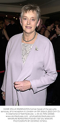 DAME STELLA RIMMINGTON former head of the security services, at a reception in London on 5th March 2002.OXY 73