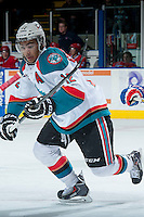 KELOWNA, CANADA -JANUARY 29: Tyrell Goulbourne #12 of the Kelowna Rockets skates against the Spokane Chiefs on January 29, 2014 at Prospera Place in Kelowna, British Columbia, Canada.   (Photo by Marissa Baecker/Getty Images)  *** Local Caption *** Tyrell Goulbourne;