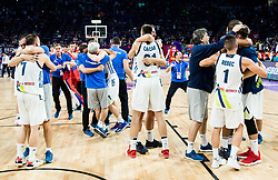 Players of Slovenia celebrating after winning during the Final basketball match between National Teams  Slovenia and Serbia at Day 18 of the FIBA EuroBasket 2017 when Slovenia became European Champions 2017, at Sinan Erdem Dome in Istanbul, Turkey on September 17, 2017. Photo by Vid Ponikvar / Sportida