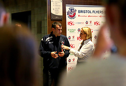 Bristol Flyers head coach Andreas Kapoulas is interviewed at the 2017/18 season launch event at Ashton Gate - Mandatory by-line: Robbie Stephenson/JMP - 11/09/2017 - BASKETBALL - Ashton Gate - Bristol, England - Bristol Flyers 2017/18 Season Launch