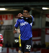 Rai Simons celebrates during the The FA Cup match between FC United of Manchester and Chesterfield at Broadhurst Park, Manchester, United Kingdom on 9 November 2015. Photo by Pete Burns.