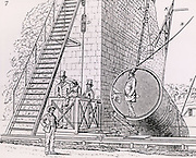 Lord Rosse's great 72-inch (1.828m) diameter reflecting telescope of 1845, called the Leviathan of Parsonstown.  Mounted between two brick walls, it could move only in a north-south direction. The instrument viewed from the south, showing the position of the when a man entered the tube to fix the small speculum and to remove the cover of the large one for the night's work.  The Earth's rotation provided movement in an east-west direction. From his paper 'On the Construction of Specula of Six-feet Aperture' in 'Philosophical Transactions of the Royal Society' (London, 1849).   William Parsons, 3rd Earl of Rosse (1800-1867).