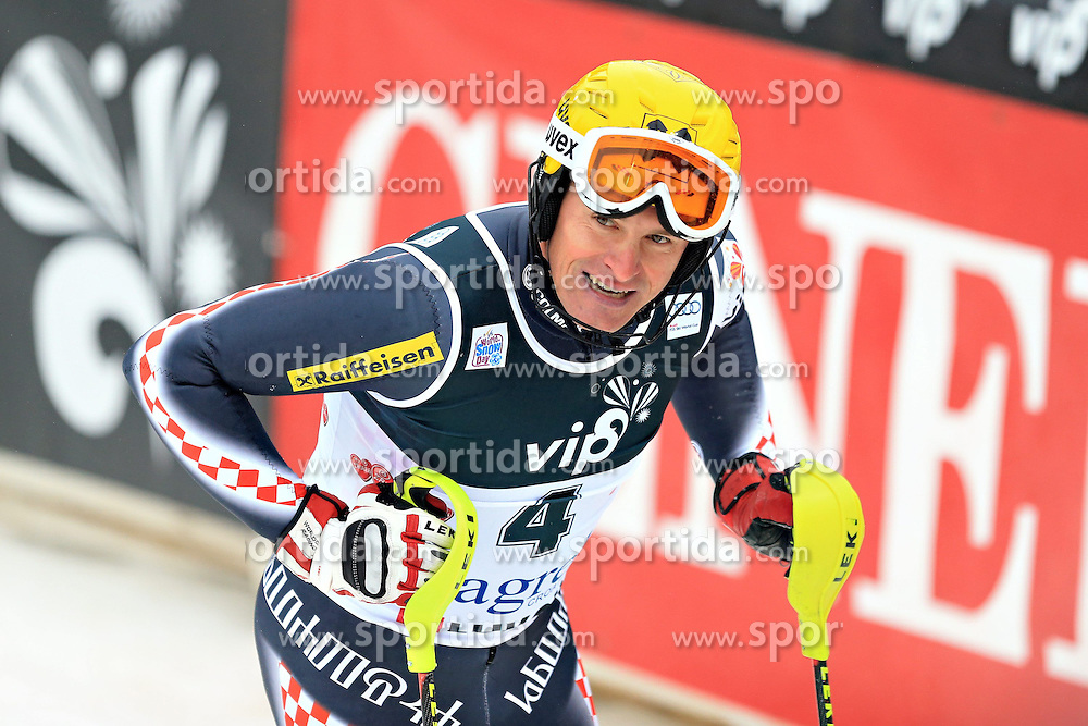 06.01.2013, Crveni Spust, Zagreb, CRO, FIS Ski Alpin Weltcup, Slalom, Herren, 1. Lauf, im Bild Ivica Kostelic (CRO) // Ivica Kostelic of Croatia reacts  after his 1st Run of the mens Slalom of the FIS ski alpine world cup at Crveni Spust course in Zagreb, Croatia on 2013/01/06. EXPA Pictures © 2013, PhotoCredit: EXPA/ Pixsell/ Zeljko Lukunic..***** ATTENTION - for AUT, SLO, SUI, ITA, FRA only *****