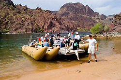 Rafting, no model release, on the Colorado River below Hoover Dam on border of Arizona, AZ, Nevada, NV, tourism, vacation, sports, Beach, sky, water, mountain, landscape, image nv431-18481.Photo copyright: Lee Foster, www.fostertravel.com, lee@fostertravel.com, 510-549-2202