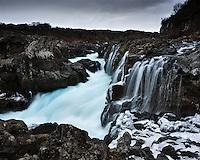 Barnafossar falls in Borgarfjörður, West Iceland. Barnafoss is near Hraunfossar which burst out of Hallmundarhraun which is a great lava plain.