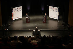 Democrat Jack Conway faced Republican Matt Bevin, left, in a gubernatorial debate, Tuesday, Oct. 06, 2015 at Newlin Hall at Centre College in Danville. <br /> <br /> Photo by Jonathan Palmer, Special to the CJ