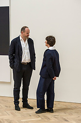 Pictured: Francis and Richard Ingleby, Owners of the gallery<br /> <br /> A new gallery in Edinburgh, The Ingleby Gallery, opened it's doors today at the former Meeting House of the Glasite Church, with an exhibition by Callum Innes<br /> <br /> <br /> <br /> Ger Harley | EEm 11 May 2018
