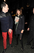 28.NOVEMBER.2011. LONDON<br /> <br /> ALEXA CHUNG, NICK GRIMSHAW AND GEORGE LAMB LEAVE GROUCHO CLUB AT 2AM. ALEXA WAS WEARING TRENDY CAT FACE SHOES.<br /> <br /> BYLINE: EDBIMAGEARCHIVE.COM<br /> <br /> *THIS IMAGE IS STRICTLY FOR UK NEWSPAPERS AND MAGAZINES ONLY*<br /> *FOR WORLD WIDE SALES AND WEB USE PLEASE CONTACT EDBIMAGEARCHIVE - 0208 954 5968*