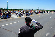"""Jim Cloyes welcomes the riders participating in Rolling Thunder's annual Memorial Day weekend """"Ride To The Wall"""", converging on the Vietnam Veterans Memorial in Washington, DC, USA on 26 May, 2013. Rolling Thunder Inc. is a non-profit organization dedicated to the search of American soldiers who are prisoners of war or missing in action. Rolling Thunder was established in 1987."""
