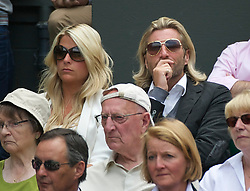 LONDON, ENGLAND - Saturday, July 2, 2011: Ex-footballer Robbie Savage and his wife Sarah watch the Ladies' Singles Final on day twelve of the Wimbledon Lawn Tennis Championships at the All England Lawn Tennis and Croquet Club. (Pic by David Rawcliffe/Propaganda)