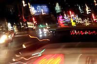 Traffic on a Los Angeles, California, USA street at night