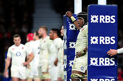 Maro Itoje of England looks on during a break in play - Mandatory byline: Patrick Khachfe/JMP - 07966 386802 - 27/02/2016 - RUGBY UNION - Twickenham Stadium - London, England - England v Ireland - RBS Six Nations.