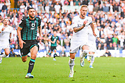 Leeds United defender Liam Cooper (6) and Swansea City forward Borja Gonzalez (9) during the EFL Sky Bet Championship match between Leeds United and Swansea City at Elland Road, Leeds, England on 31 August 2019.