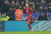 Roberto Firmino (9) celebrates his 2nd goal during the Premier League match between Leicester City and Liverpool at the King Power Stadium, Leicester, England on 26 December 2019.