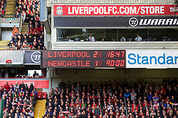 LIVERPOOL, ENGLAND - Sunday, May 11, 2014: Liverpool's scoreboard records the 2-1 victory over Newcastle United during the Premiership match at Anfield. (Pic by David Rawcliffe/Propaganda)