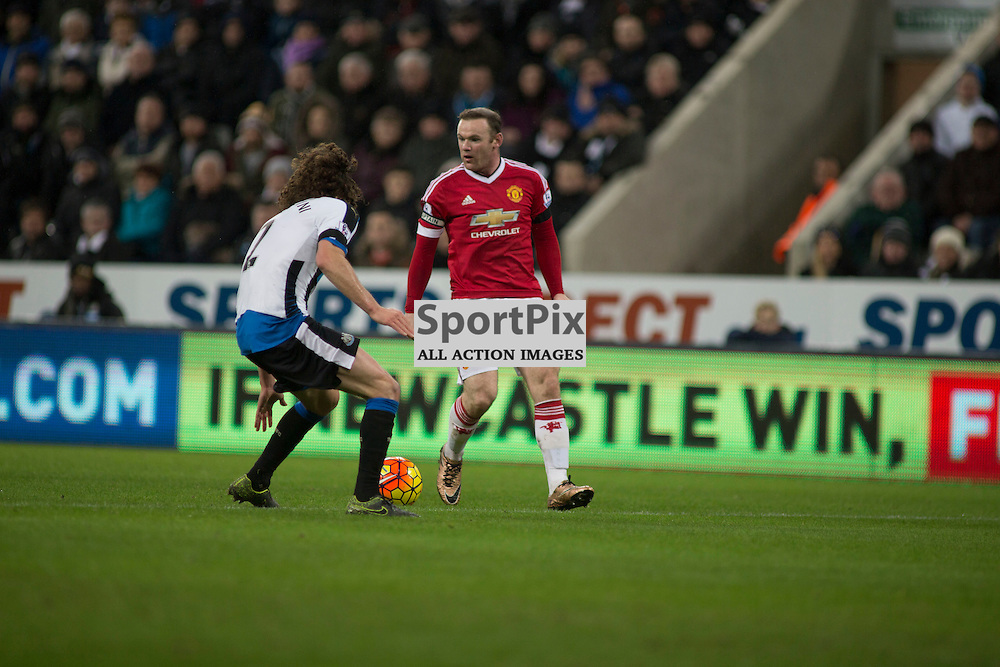 Newcastle v Manchester Utd 12 January 2016<br />Rooney and Coloccini<br />(c) Russell G Sneddon / SportPix.org.uk