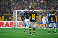 2019-09-01 | Solna, Sweden: Djurgårdens IF (3) Markus Danielson and AIKs (36) Henok Goitom during the game between AIK and Djurgårdens IF at Friends Arena ( Photo by: Simon Holmgren | Swe Press Photo )<br /> <br /> Keywords: Friends Arena, Solna, Soccer, Allsvenskan, AIK, Djurgårdens IF