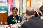 Janelle N. Coleman, Board of Trustees vice chair, enjoys a lunch at the grand opening and ribbon cutting for the new CoLab, October 18, 2018. (Photo by Stephen Zenner/Ohio University Libraries)