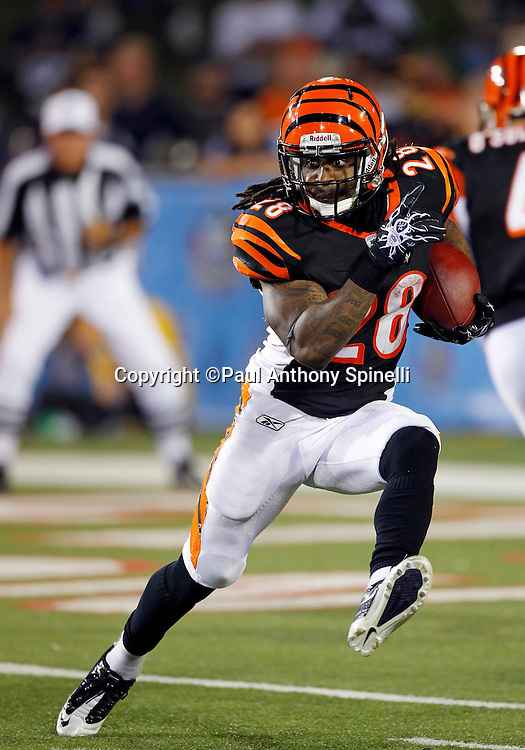 Cincinnati Bengals halfback Bernard Scott (28) high steps as he runs the ball during the NFL Pro Football Hall of Fame preseason football game between the Dallas Cowboys and the Cincinnati Bengals on Sunday, August 8, 2010 in Canton, Ohio. The Cowboys won the game 16-7. (©Paul Anthony Spinelli)