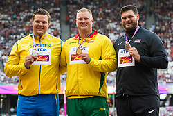 London, 2017 August 06. Men's discus medalists, Andrius Gudžius, gold, Lithuania; Daniel Ståhl, silver, Sweden and Mason Finley, bronze of the United States on day three of the IAAF London 2017 world Championships at the London Stadium. © Paul Davey.