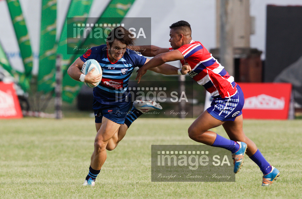 DURBAN, SOUTH AFRICA - Saturday 14 March 2015, Riaan O'Neill runs with ball in hand  during the fourth round match of the Cell C Community Cup between Jonsson College Rovers and Bloemfontein Crusaders at KP10, Kings Park precinct, Durban. <br /> Photo by Rogan Ward/ImageSA/SARU