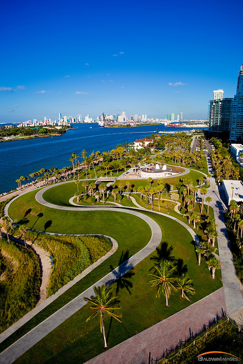 Aerial view of South Pointe Park, South Beach with Miami Skyline in the background