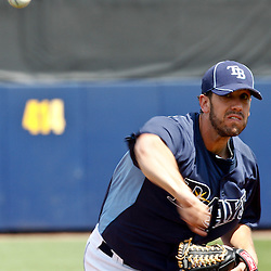 March 8, 2011; Port Charlotte, FL, USA; Tampa Bay Rays starting pitcher James Shields (33) during a spring training exhibition game against the Toronto Blue Jays at Charlotte Sports Park.   Mandatory Credit: Derick E. Hingle