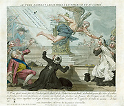 French Revolution: Father Time flying past altar on which the privileges of the nobility and clergy are being burned. He is anointing the forehead of one priest with ashes while others draw back. Print 1790. Anti-Clericalism