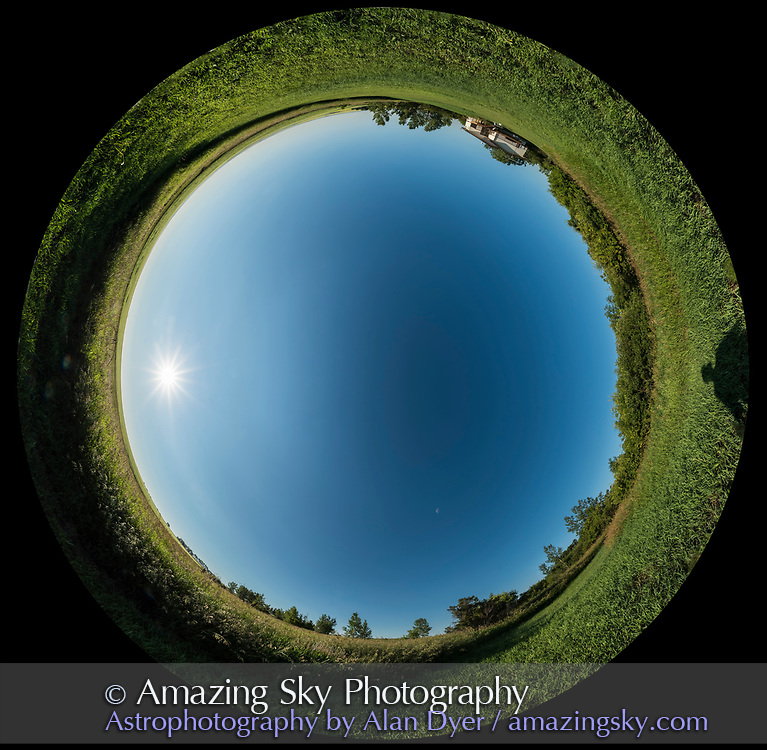 A 360&deg; panorama demonstrating the natural polarization of the sky in a band 90&deg; away from the Sun. Here, the band stretches from top to bottom vertically across the sky, with the rising morning Sun in the east at left. The waning last quarter Moon is also 90&deg; from the Sun at lower centre to the south. The Moon disk is enlarged 3x as per planetarium standards to make it more visible in the 360&deg; sky. <br /> <br /> North is at the top. <br /> <br /> Taken from home July 16, 2017, using the 12mm Rokinon lens for a panorama of 8 segments, stitched with PTGui.