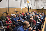 49 seats where available on a first come first served basis in the public gallery during the planning application meeting to redevelop the Plough Lane site into a new 20,000 all seater stadium for AFC Wimbledon at Merton Civic Centre, Morden, United Kingdom on 10 December 2015. Photo by Stuart Butcher. The joint application is lodged by Galliard Homes and AFC Wimbledon.