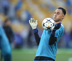 May 25, 2018 - Kiev, Ukraine - Real Madrid's Costa Rican goalkeeper Keylor Navas during a Real Madrid team training session at the Olympic Stadium in Kiev, Ukraine on May 25, 2018, on the eve of the UEFA Champions League final football match between Liverpool and Real Madrid. (Credit Image: © Raddad Jebarah/NurPhoto via ZUMA Press)