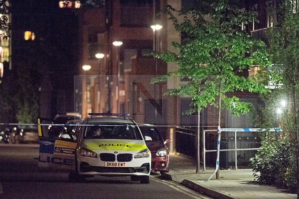 © Licensed to London News Pictures. 11/07/2019.<br /> Greenwich,UK A young man in his early 20s has been stabbed to death in Greenwich, South East London, Met police were called to the Shooters Hill area. A cordon is in place with police on guard. Photo credit: Grant Falvey/LNP