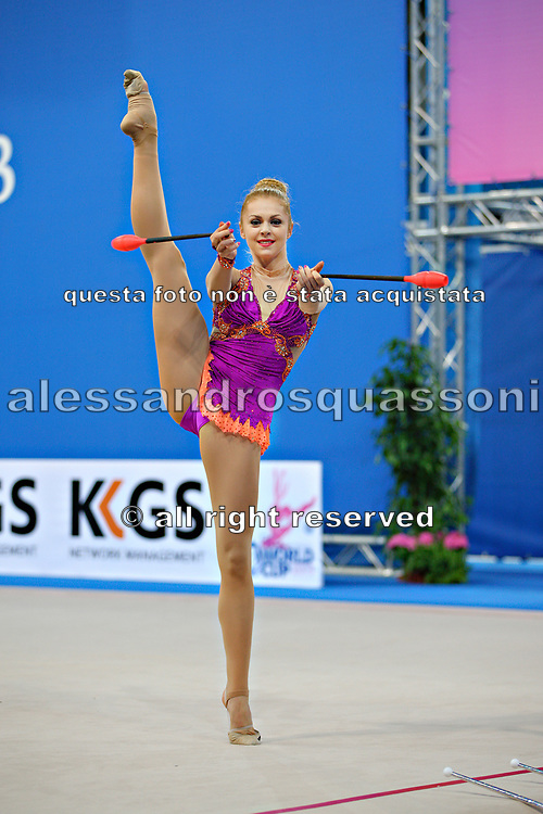 Mateva Mariya during qualifying at clubs in Pesaro World Cup at Adriatic Arena on 27 April 2013. Mariya was born on June 1,1994 in Burgas. She is a Bulgarian individual rhythmic gymnast.
