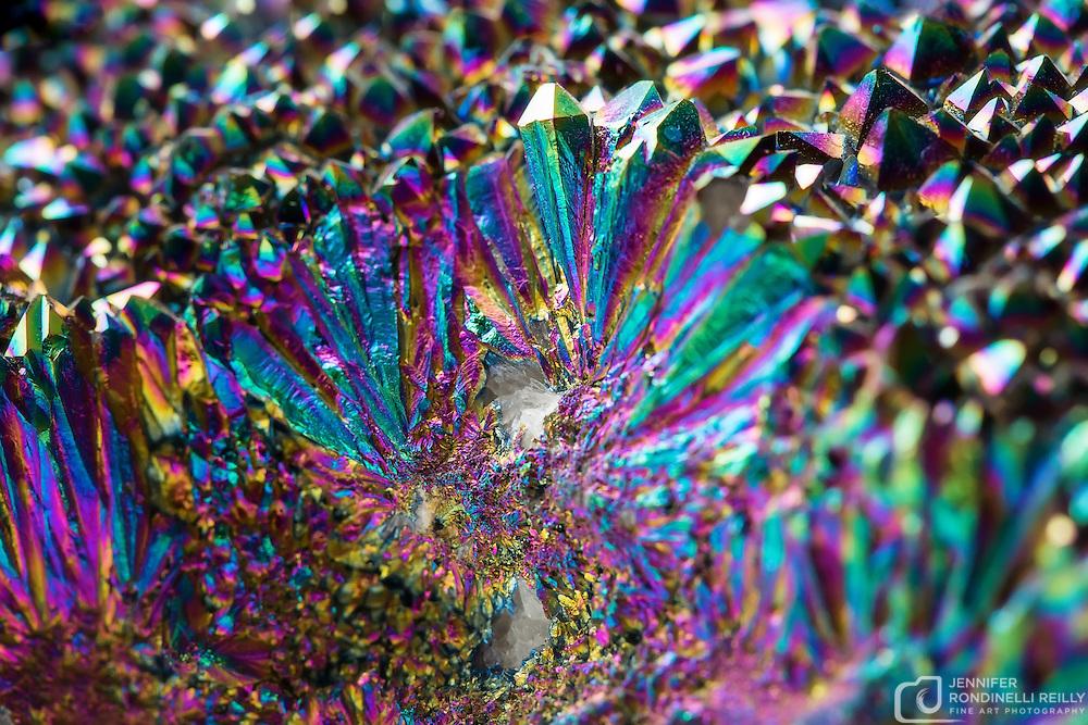 Close up of titanium rainbow quartz cluster.