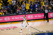 Golden State Warriors guard Stephen Curry (30) celebrates a three pointer against the Houston Rockets during Game 3 of the Western Conference Finals at Oracle Arena in Oakland, Calif., on May 20, 2018. (Stan Olszewski/Special to S.F. Examiner)