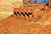 Tractor ploughs the earth - closeup