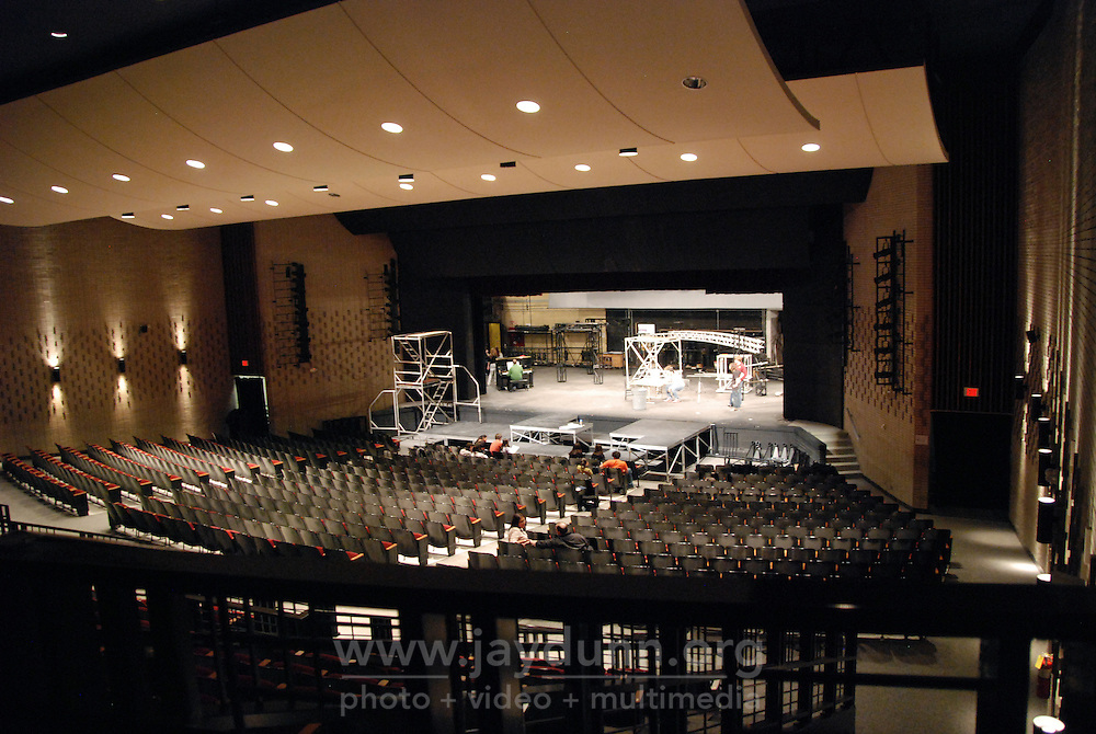 "USA, Skokie, IL, February 12, 2010.  The large auditorium in which ""Rent"" will be performed. Niles North High School's afternoon programs give hundreds of kids opportunities to learn and pursue artistic or academic avenues of their own choice outside standard curricula. The drama program, for example, led by instructor Tim Ortmann, teaches interested students every aspect of theater, from the roles themselves to costume-making, set-building and production design. Photo for Hoy by Jay Dunn."