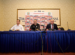 TIRANA, ALBANIA - Monday, November 19, 2018: Wales' manager Ryan Giggs (C) and head of public affairs Ian Gwyn Hughes (R) during a press conference at the Tirana International Hotel ahead of the International Friendly match between Albania and Wales. (Pic by David Rawcliffe/Propaganda)