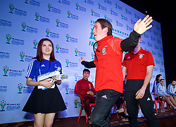 NANNING, CHINA - Saturday, March 24, 2018: Wales' Harry Wilson plays Chinese whispers charades and describes a mascot during a meet & greet event at the Nanning Wanda Mall during the 2018 Gree China Cup International Football Championship. (Pic by David Rawcliffe/Propaganda)