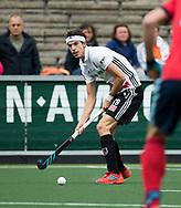 AMSTELVEEN -  Johannes Mooij (A'dam)  tijdens Amsterdam-Tilburg (4-2), competitie Hoofdklasse hockey heren   (2017-2018) . COPYRIGHT KOEN SUYK