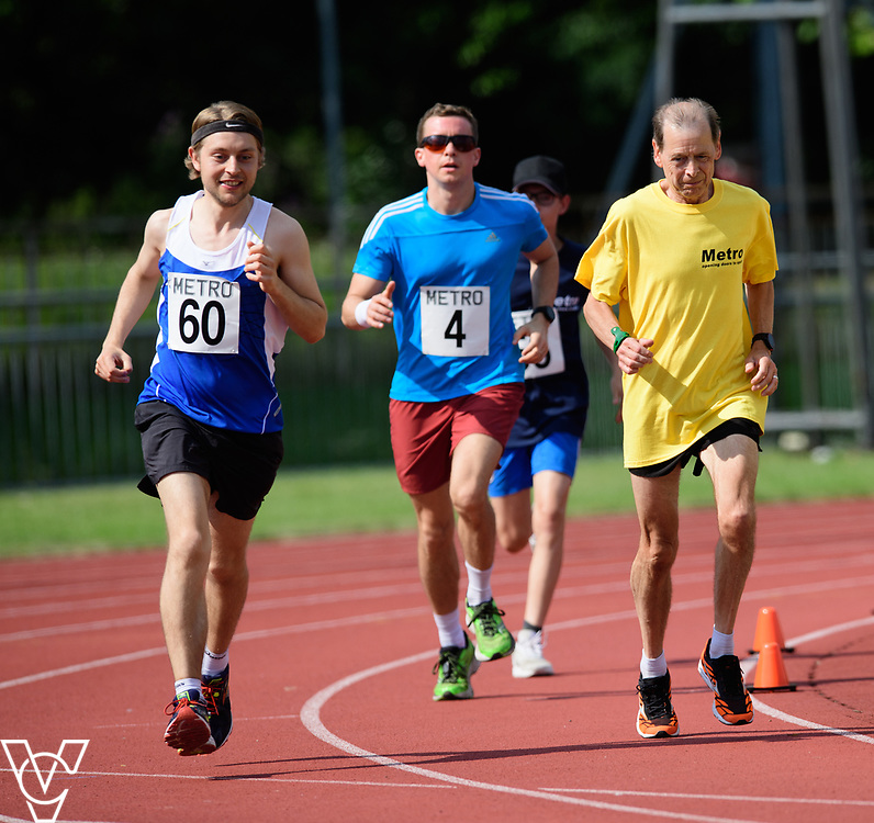 Metro Blind Sport's 2017 Athletics Open held at Mile End Stadium.  5000m.  Tom Skelton with guide runner, left, and Rhys Jones<br /> <br /> Picture: Chris Vaughan Photography for Metro Blind Sport<br /> Date: June 17, 2017