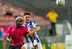 "Gyrano Kerk #7 of Utrecht, Joaquin Fernández #4 of Heerenveen in action. FC Utrecht convincingly won the practice match against sc Heerenveen. The ""Domstedelingen"" were too strong for SC Heerenveen in Stadium Galgenwaard with 4-1<br /> on August 20, 2020 in Utrecht, Netherlands"