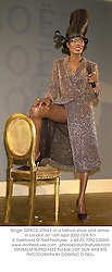 Singer GRACE JONES at a fashion show and dinner in London on 16th April 2002.OZA 511
