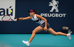 March 25, 2019 - Miami, FLORIDA, USA - Caroline Garcia of France in action during her fourth-round match at the 2019 Miami Open WTA Premier Mandatory tennis tournament (Credit Image: © AFP7 via ZUMA Wire)