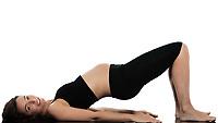 pregnant caucasian woman workout exercise  isolated studio on white background